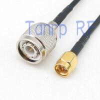 6in TNC wtyk męski na SMA wtyk męski złącze RF adapter 15 CM Pigtail koncentryczny kabel jumper RG174 przedłużacz w Złącza od Lampy i oświetlenie na