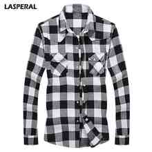 LASPERAL Men's Shirt 2018 New Flannel Large Plaid Color Design Stylish Dynamic Casual Men's Slim Classic Long Sleeve Shirt(China)