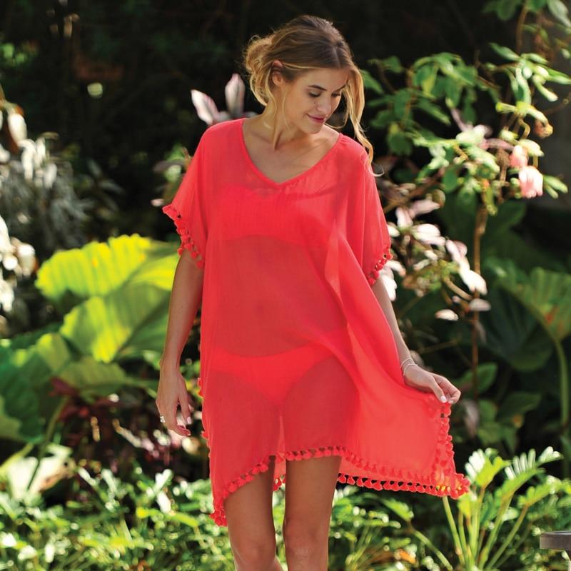 Women Chiffon Tassel Summer Beachwear Bikini Swimsuit Cover Up