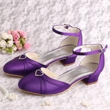 Wedopusยี่ห้อผู้หญิงรองเท้าสีม่วงซาตินต่ำส้นรองเท้าปิดนิ้วเท้าสำหรับงานแต่งงาน