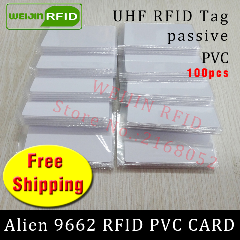 RFID tag UHF PVC card Alien 9662 915mhz 868mhz 860-960MHZ Higgs3 EPC 6C 100pcs free shipping smart long range passive RFID tags uhf rfid tag sticker alien 9654 wet inlay 915mhz 900 868mhz 860 960mhz higgs3 epcc1g2 6c smart adhesive passive rfid tags label