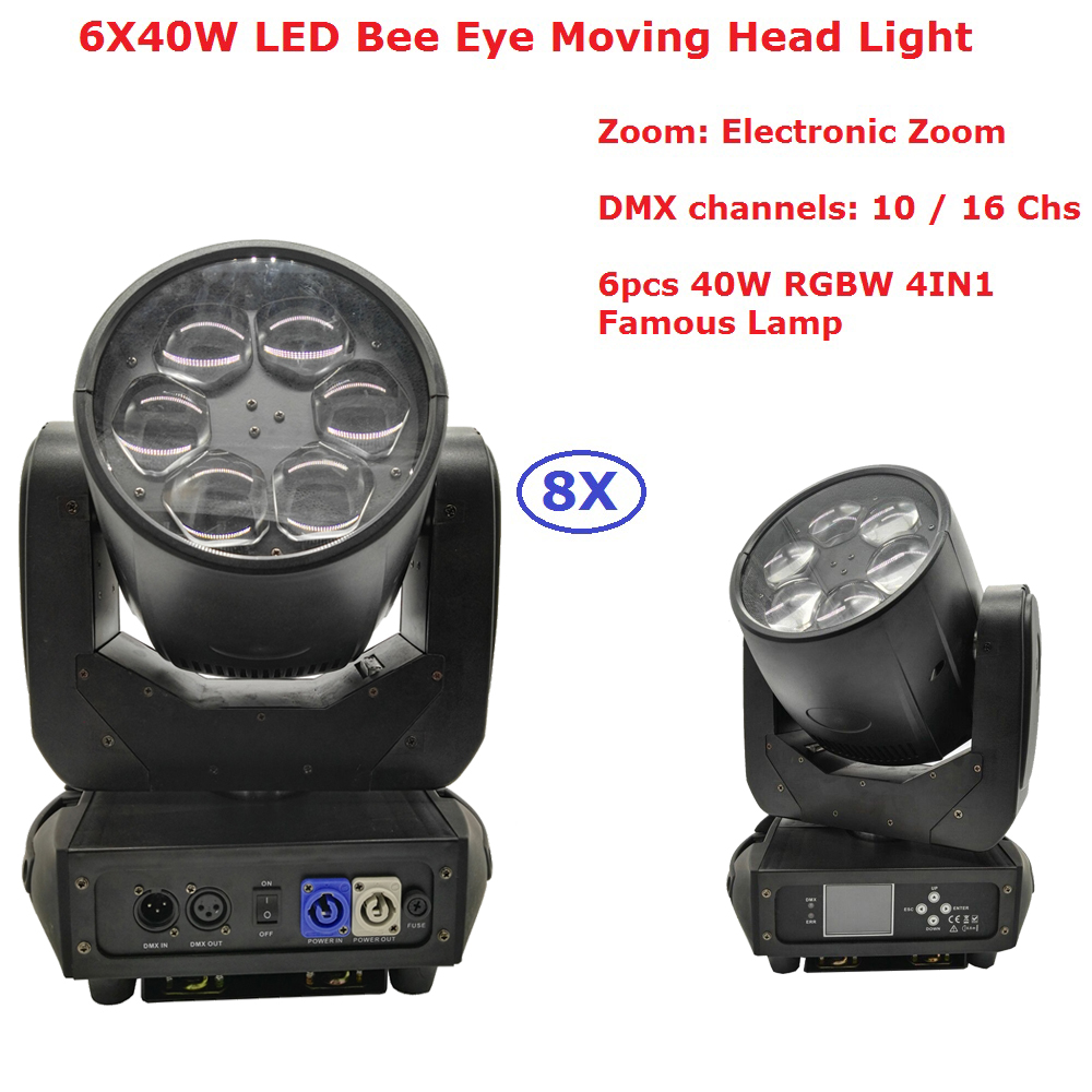 8XLot New Led Bee Eye Moving Head Light 6X40W RGBW 4IN1 Professional Stage Lights With Zoom Function For Dj Disco Party Lights 6 frames reversible honey extractor for bee keeping