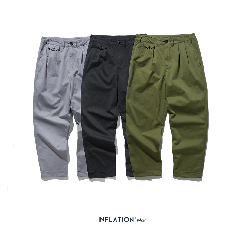 INFLATION 2019 AW New Solid Casual Cargo Pants Men Straight Baggy Simple Pants For Men Cotton Black Male Trousers 93366W