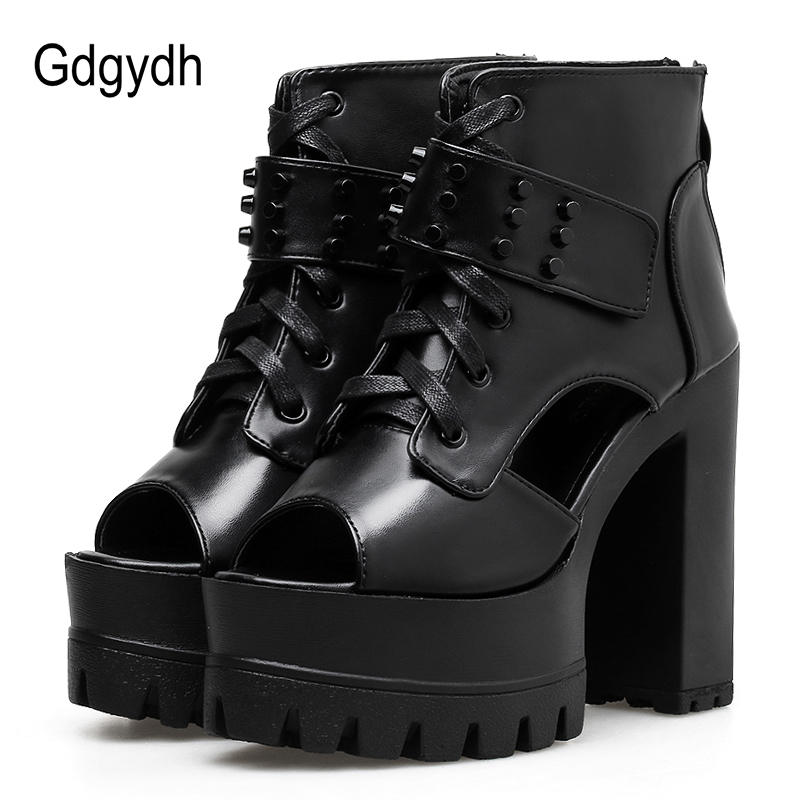 Gdgydh Fashion Rivet Ankle Boots For Women 2019 Spring Summer Lace Up Peep Toe Summer Shoes