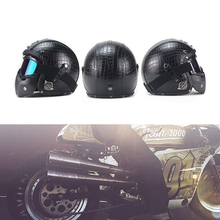 Para a Motocicleta Capacetes 3/4 Capacete Aberto PU Couro + Máscara de Óculos De Proteção Do Vintage Estilo XLL