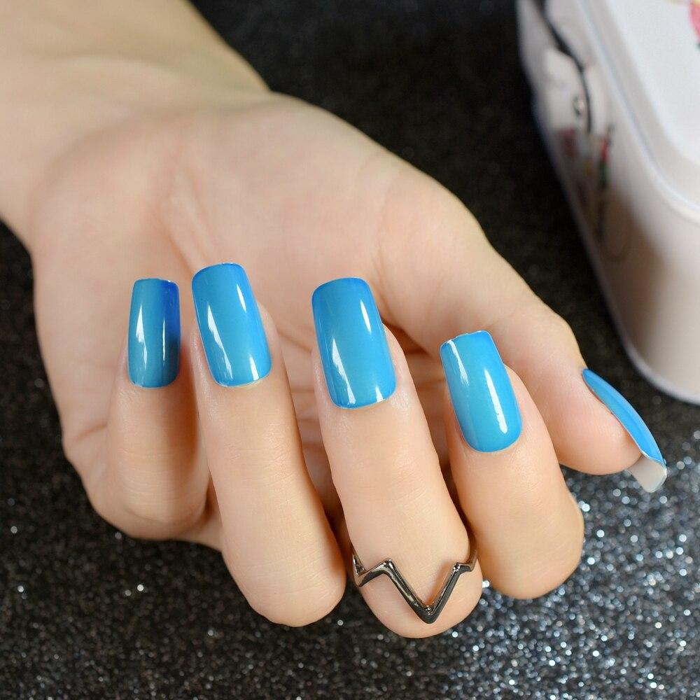 Tienda Online Cielo azul cubierta completa uñas stiletto encantadora ...