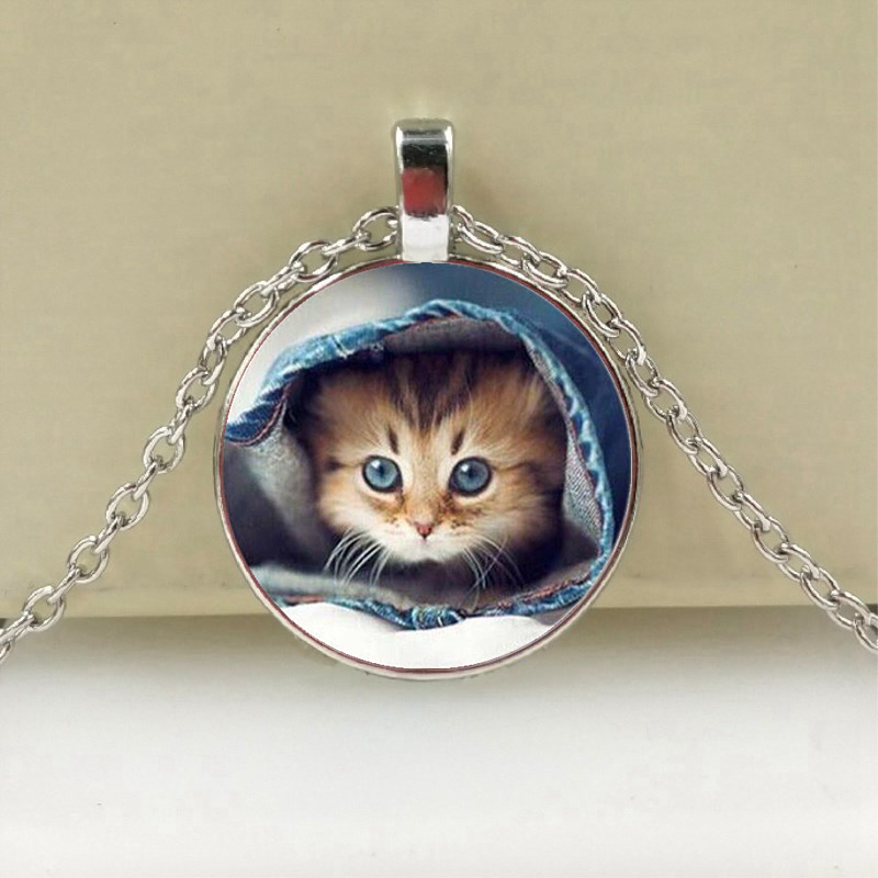 New Fashion Cat Pendant Necklace Glass Vintage   Chain Necklace For