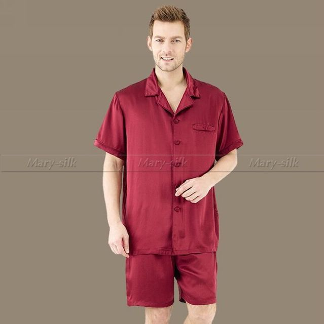 Verano Hombres de Satén de Seda Pajamas Set Pijama pijama PIJAMA ropa de Dormir Conjunto Lounge Wear USS ~ 4XL Plus de Manga Corta Sólido