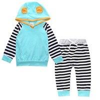 Niemowlę Dziecko Dzieci Odzież Z Długim Rękawem Paskiem Z Kapturem T-shirt Topy Spodnie Outfit Set Baby Boy Zestaw Niebieski Żółty Odzież Garnitur