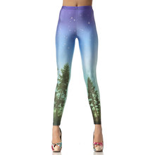 1010 Fitness Elastic Women Leggings Sexy Girl Polyester Slim Fit Workout Pants Trousers Rainbow Aurora Blue Galaxy Star Printed