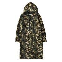 Super long camouflage lamb fleece warm Sweatshirt women 2019 autumn winter thickening loose thin large size hooded Sweatshirt