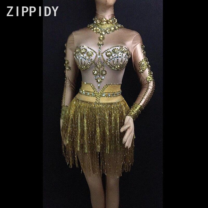 Glisten Gold Rhinestones Tassel Long Sleeves Dress Birthday Celebrate Women s Nightclub Clothes Female Singer Outfit