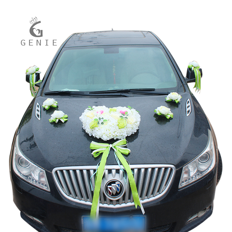 Genie artificial flowers rustic wedding car decoration set love genie artificial flowers rustic wedding car decoration set love heart peony silk flower pull ribbon bows diy car decor supplies in artificial dried junglespirit Image collections