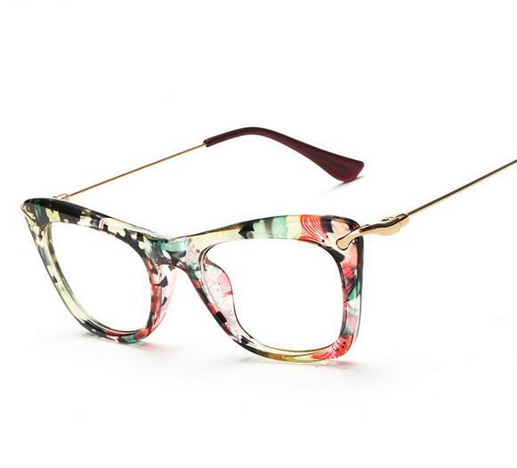 Fashion Women Cat\'s Eye Glasses Frames Print Frame Cat Eye Glasses ...