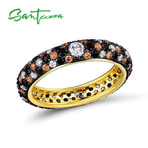 Image 4 - SANTUZZA Silver Rings For Women Pure 925 Sterling Silver Multi color CZ Ring Stackable Eternity Ring Trendy Fashion Jewelry
