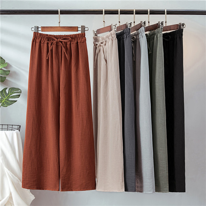 New Summer Autumn Plus Size Cotton Linen   Wide     Leg     Pants   Elegant Bow Loose Thin Trouser Vintage Elastic High Waist Leggings Mw443
