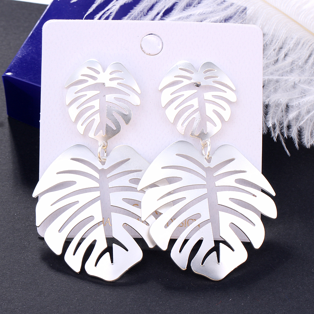 L H 2019 Fashion Female Drop Earrings Bohemia Vintage Charm Statement Earrings Gold Color Leaves Earrings For Women Ear Jewelry in Drop Earrings from Jewelry Accessories