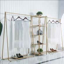 Clothing store display rack floor - to - floor combination of gold clothing store shelves iron art island display rack цена