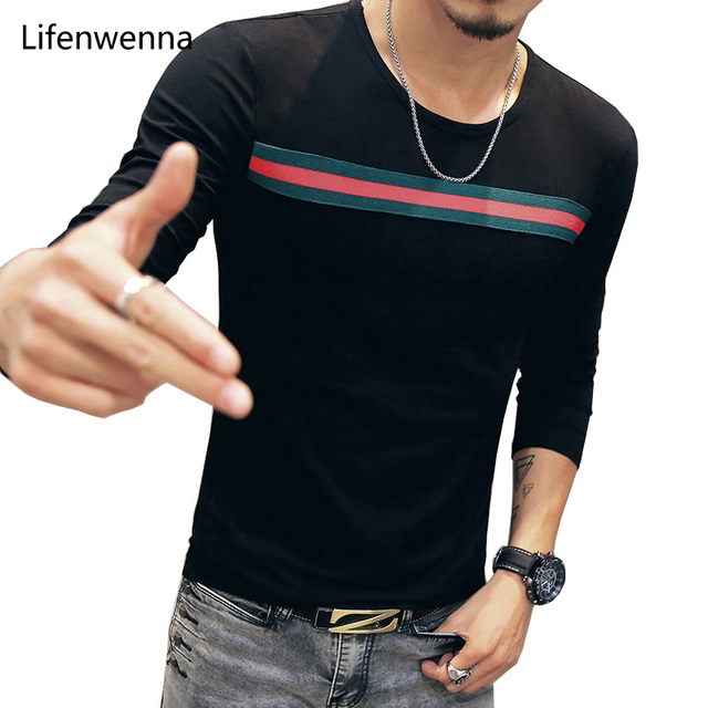 New Fashion Men's T Shirt 2017 Autumn Personality Striped O Neck Long Sleeve T Shirt Men Hip Hop Casual Slim Mens Tee Shirts 5XL