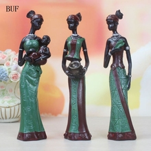 BUF 3pcs/Set 5*5*19CM African Woman Statue Resin Ornaments Home Decoration Accessories Craft Creative Sculpture Gift