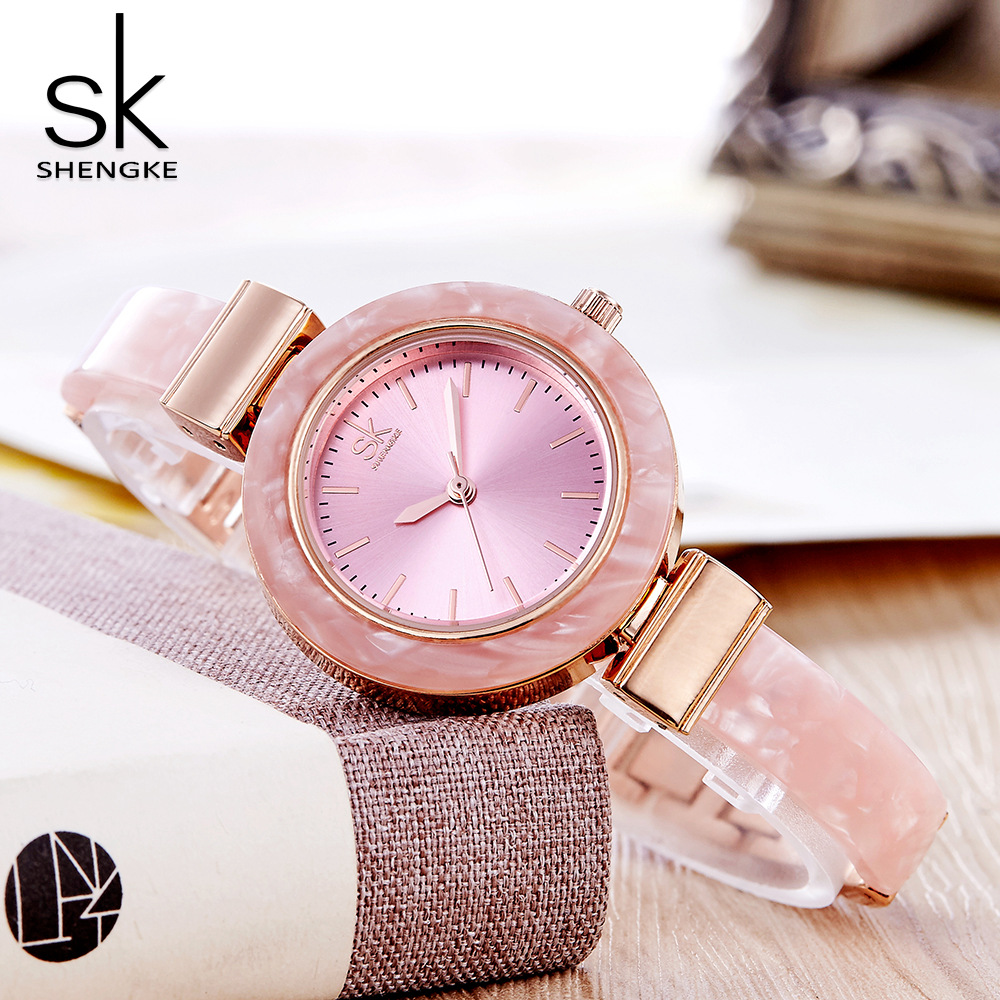 Sk Woman Watch Pink Ceramic Waterproof Luxury Top Brand Wristwatch Lady Simple Classical Fashion Birthday Gift To Girl Mujer