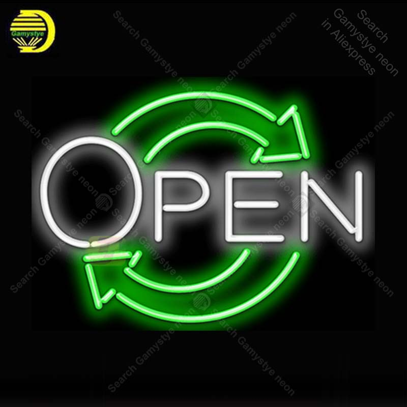 Neon Sign for Eco Open Arrow Neon Light Neon Bulb sign Beer Bar Display club Hotel handcraft glass tube light Decorate lamps replace tube for custom neon sign board lexingtow bbq barbecue glass tube beer bar club display store shop light signs