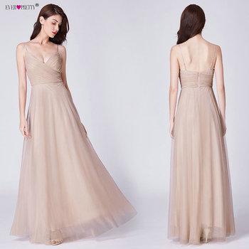 Blush Pink Bridesmaid Dresses Ever Pretty EP07303 Sweetheart A-line V-neck Sleeveless Wedding Party Dress Elegant for Women