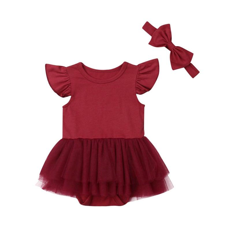 3c9dfe9ca 0-24 M lindo bebé niña trajes ropa de mameluco de manga de encaje de tul  Tutu Sunsuits arco diadema 2 piezas de bebé niñas trajes