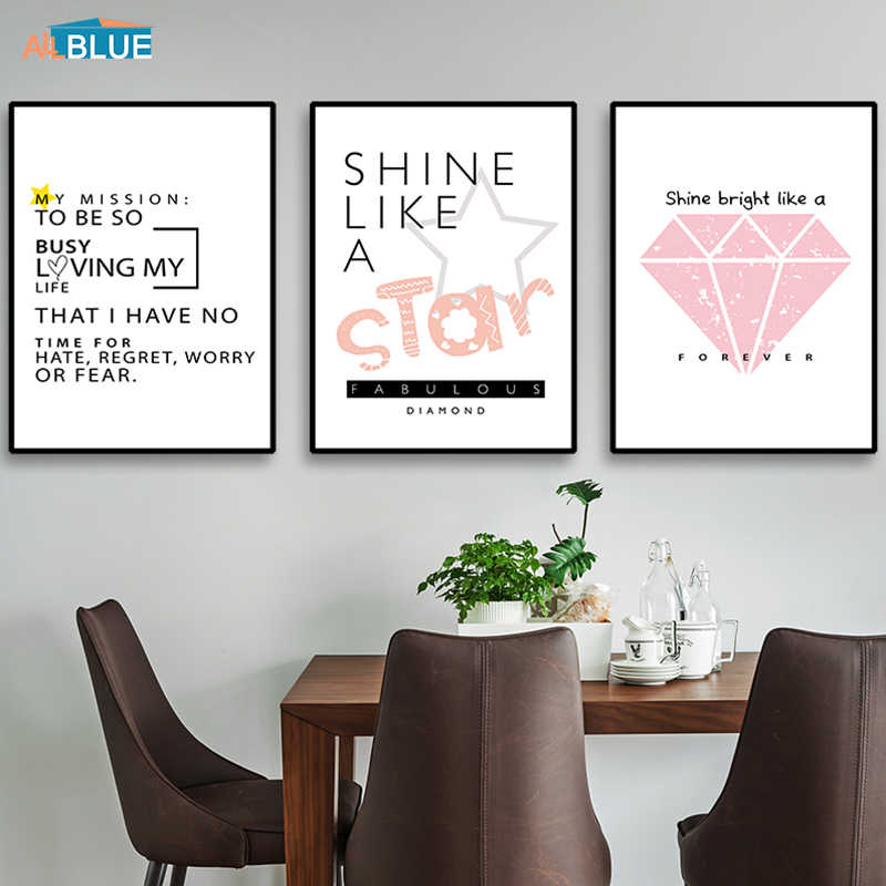 Pink Poster Nordic Style Canvas Art Print Painting Poster Motivational Quote Wall Art Diamond Decorative Picture For Living Room