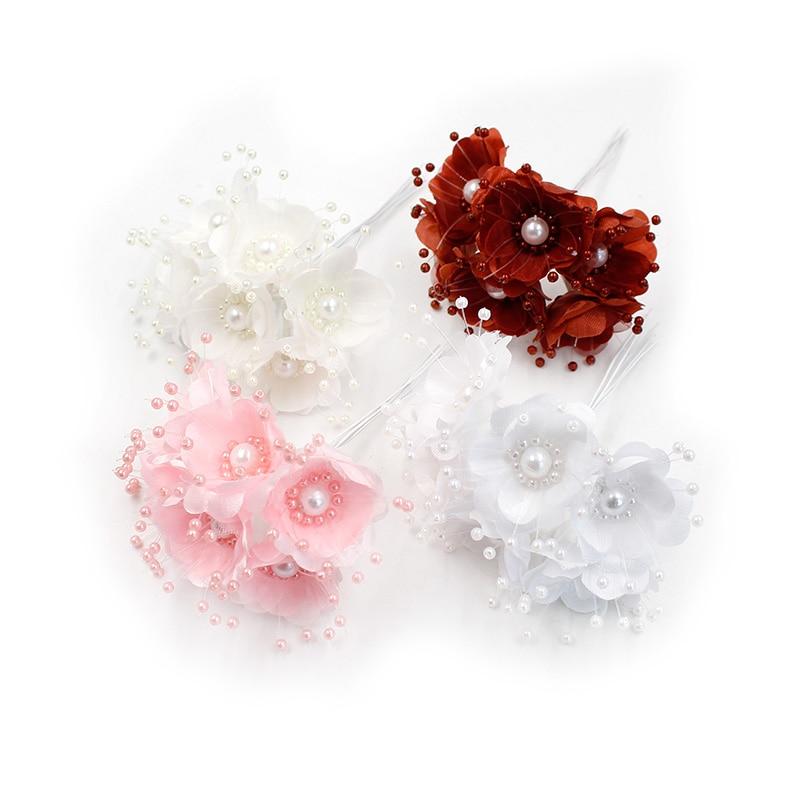 6 шт./лот искусственный цветок 3,5 см Шелковый жемчуг Cherry цветной Букет Свадебные украшения дома DIY ВЕНОК записки подарочная коробка