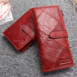 Image 5 - Kontakts Rot Lange Kupplung Brieftasche Frauen Echte Kuh Leder Patchwork Stepp Smartphone Armband Brieftaschen Haspe Weibliche Geldbörse