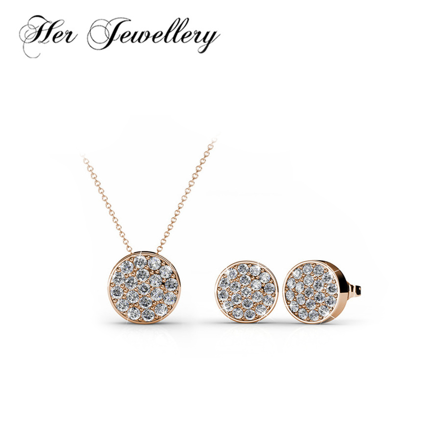 Her Jewellery Classic round Jewellery set Earrings/ necklace Made with crystals from Swarovski HS004 цена