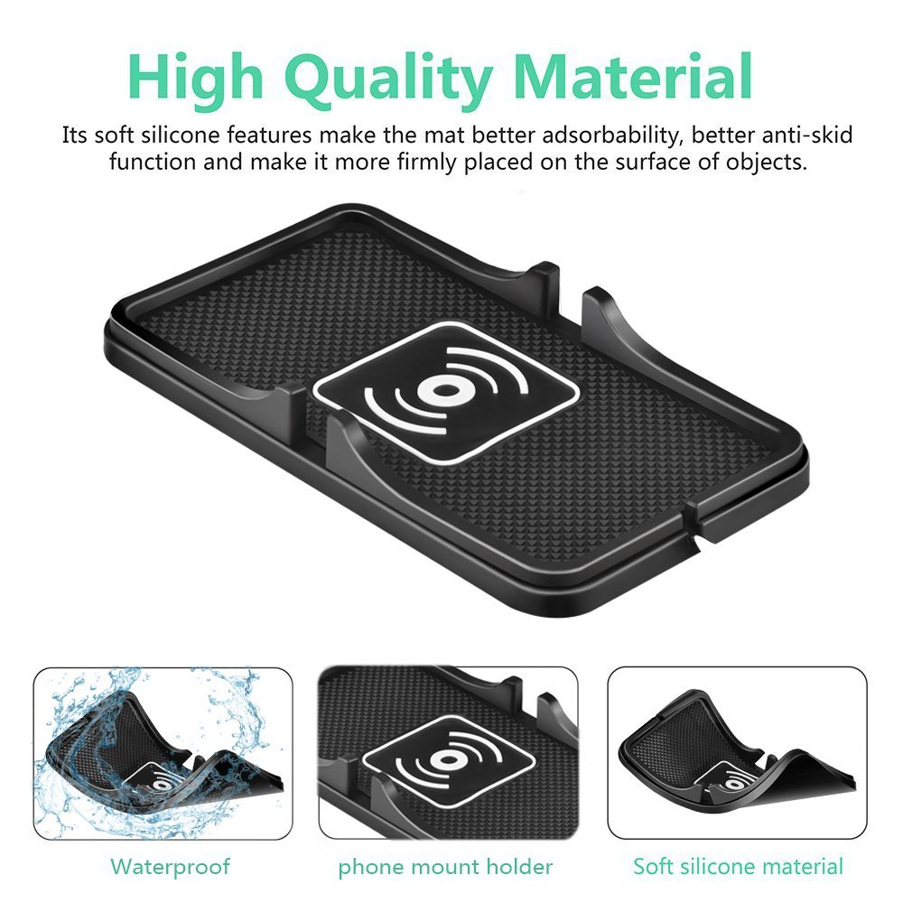 Wireless Car Charger QI Wireless Charging Pad Soft Silicone Charging Mat with GPS Holder for iPhone 8 10 X Plus Samsung S6 S7 in Car Chargers from Cellphones Telecommunications