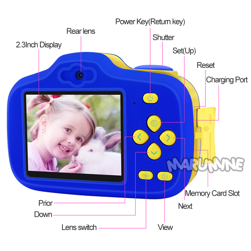 Marumine 12.0 Mega Piexl Hd Kids Digital Camera Electronic Toy Camera With Dual Cameras Ai Intelligent Adjustment Photography