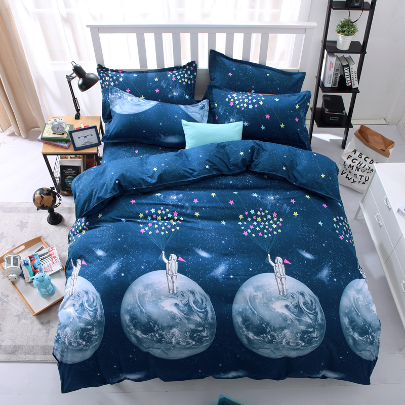 outer space galaxy bedding bed sets queen king twin bedsheet bedlinen girls blue round earth comforter duvet cover 4/5pc