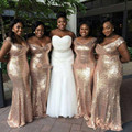 Gold Sequin Bridesmaid Dress Long Off Shoulder vestido longo 2016 Sexy Wedding Party Dress Prom Gowns Fitted Plus Size