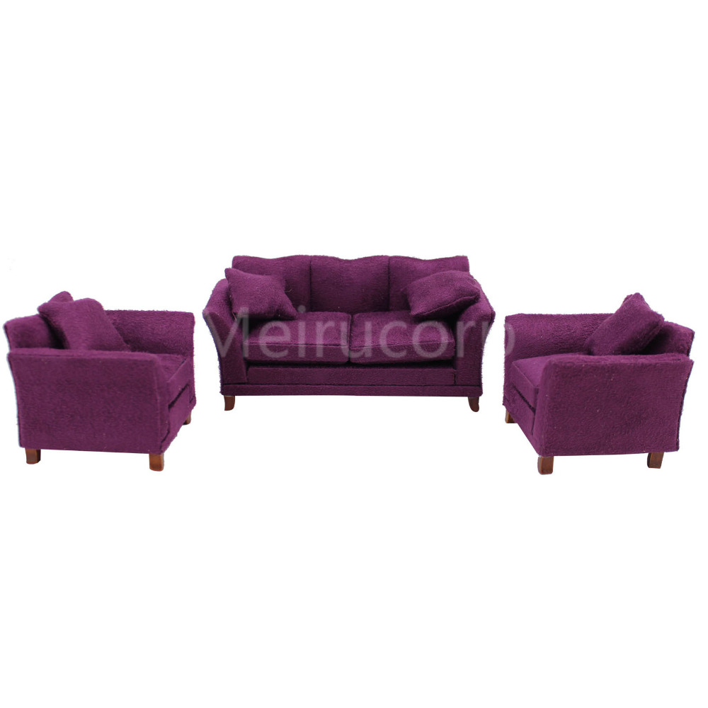 Dollhouse 1 12th Miniature Furniture Purple Fabric Sofa And Chair Set In Toys From Hobbies On Aliexpress Alibaba Group