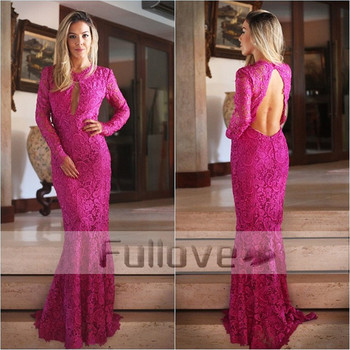 Noble Pink Lace Long Sleeve Evening Dress 2019 Backless Mermaid Formal Evening Dresses Party Gowns Robe De Soiree Abendkleider