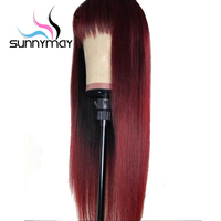 Sunnymay 13x4 Burgundy Lace Front Human Hair Wigs With Bangs 130% Straight Remy Hair Wigs Glueless 99j Lace Front Wig for Women