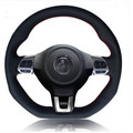 car styling Special Hand-stitched black Genuine Leather Steering Wheel Cover For Volkswagen vw Golf 6 GTI MK6 Polo GTI Scirocco