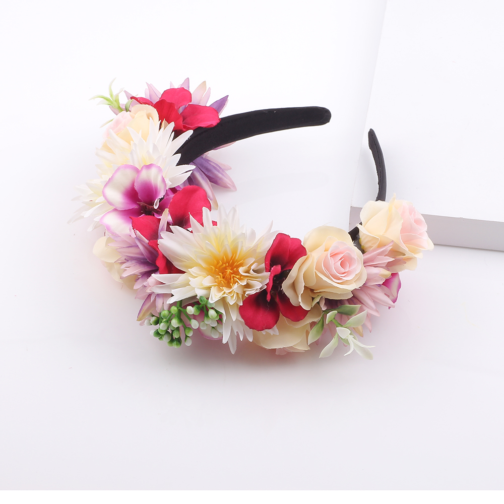 Wildflower Pink Blue Yellow Flower Crown Boho Festival Headband