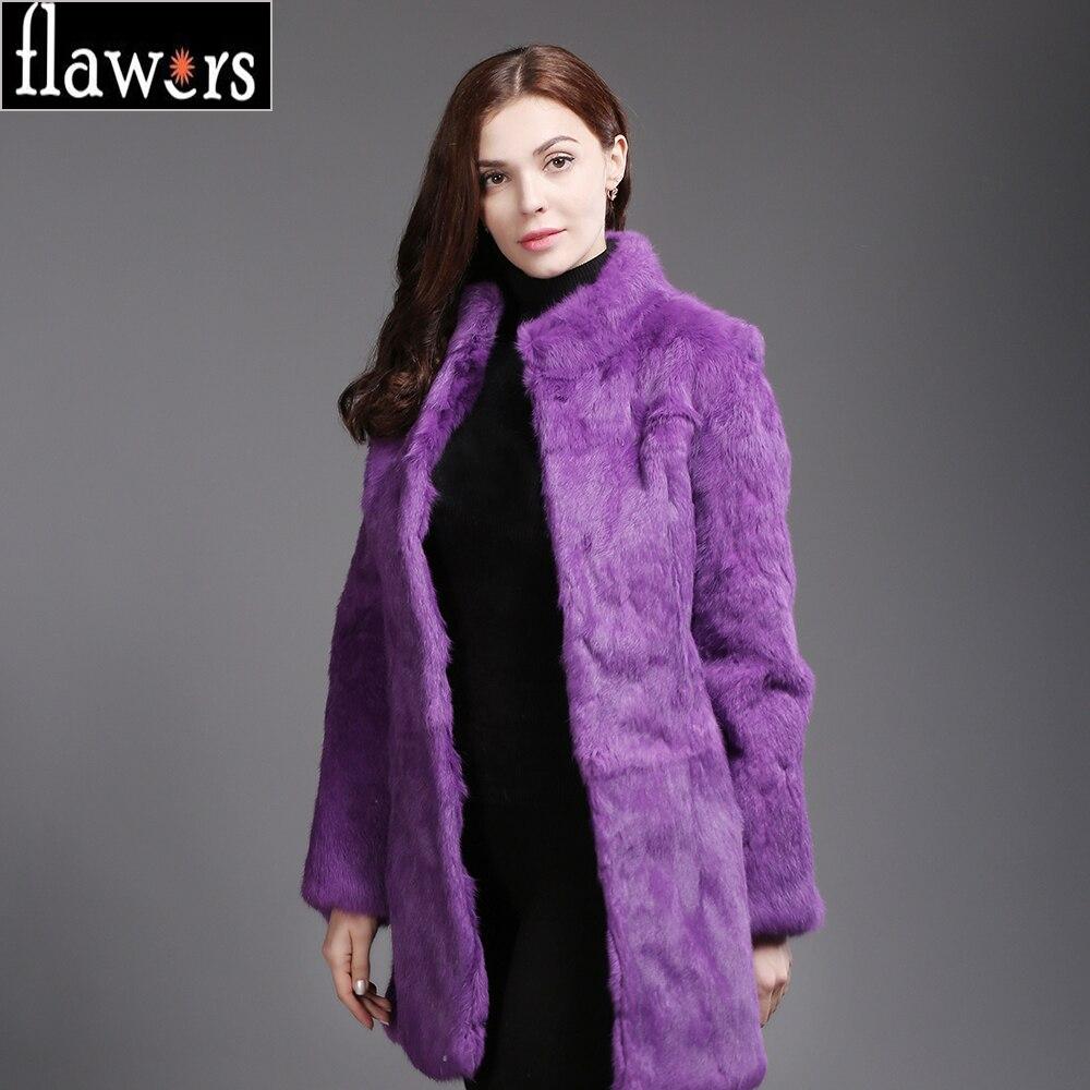 Rabbit Long Épais Femmes Veste Pelt Style Lapin Chaud Manteaux Hiver Fourrure Black Réel grey De purple Complet Naturel Nouveau Dame awxndzOqqC