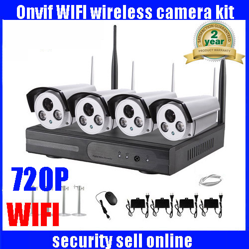 HD 4CH NVR Wireless CCTV System 4pcs 720P IP Camera WIFI Waterproof Home Security Surveillance Kit 4channel 4ch nvr kits full hd wifi ip camera 720p wireless waterproof outdoor 4channel wifi nvr recorder hdmi onvif cctv camera system