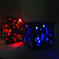 LED Night Light Minecraft Light Up Led Toys Redstone Ore Square Figure Model Light Up Diamond