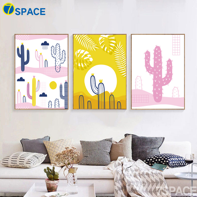 7 Space Nordic Cartoon Print Poster Colorful Cactus Canvas Painting ...