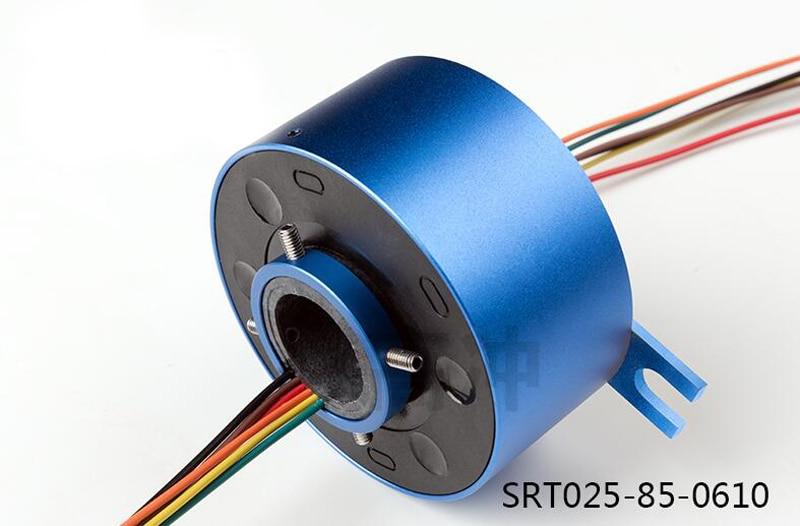 Dia.25.4mm Through Shaft Slip Ring OD 85MM Rotor Slip Ring 6Loop Circular Distributor Ring 10A Power Pass Hole Slip Slewing Ring