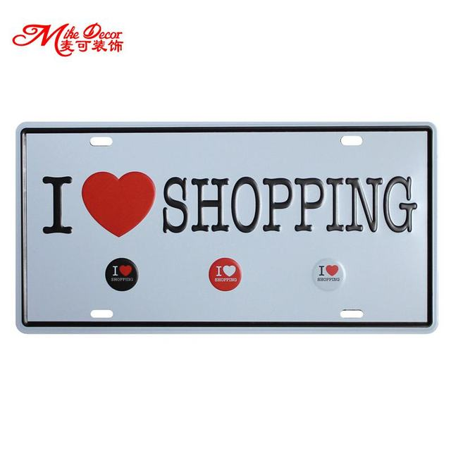 Mike86 I Love Shopping Retro Funny Metal Sign Pub Craft Painting