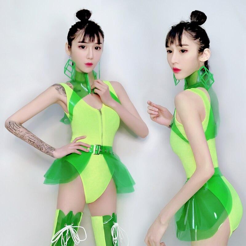 Néon vert scène Costume femme femmes Sexy GoGo danse vêtements Costume Cosplay elfes chanteur leader danse boîte de nuit combinaison BL1861