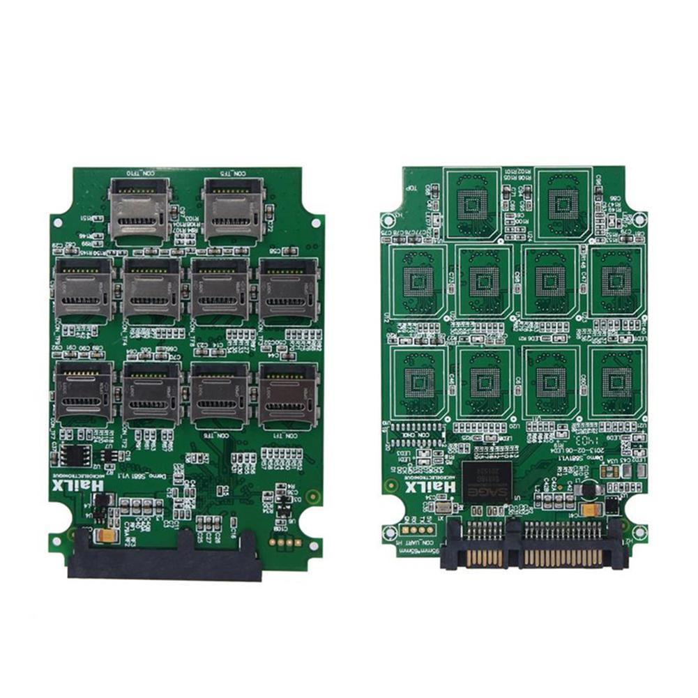 10 ranuras Micro SD TF tarjeta de memoria a SATA SSD adaptador expansión RAID convertidor