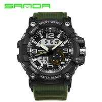 SANDA Brand Men S Sports Watch Dual Display Analog Digital LED Electronic Quartz Watch Waterproof Military